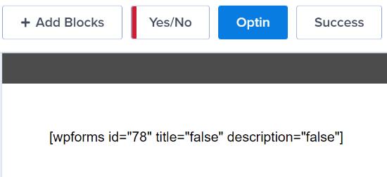 Código corto del formulario de contacto en la plantilla