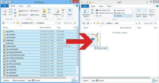 Copie y pegue archivos de WordPress en su unidad USB