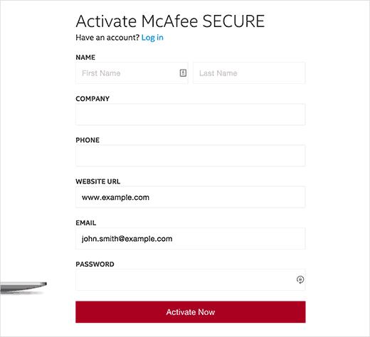 Creación de su cuenta SECURE de McAfee