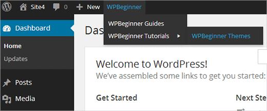 Agregar un menú o grupo de enlaces personalizados en la barra de herramientas de WordPress