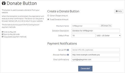 Generando un botón de donación en BitPay