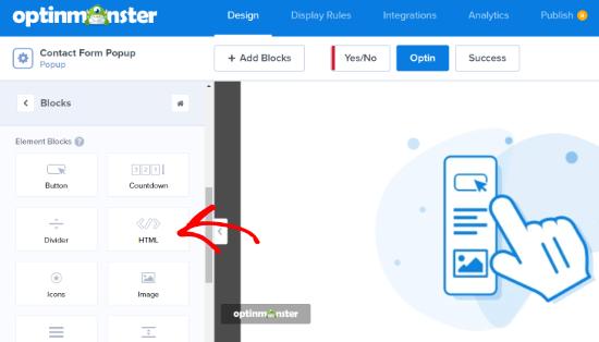 Arrastre el bloque HTML a la plantilla