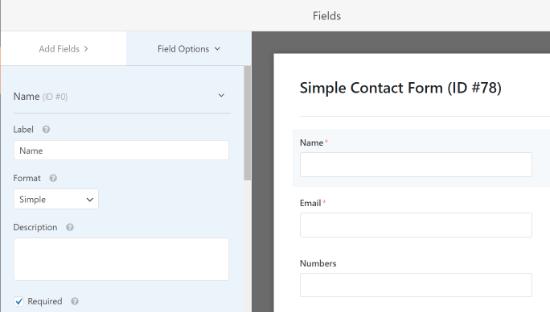 Edite la etiqueta y el formato de cada campo