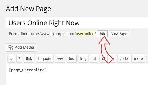 Editar slug de página a usuario en línea
