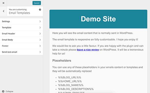 Personalizador de plantillas de correo electrónico