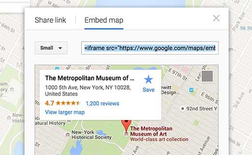 Insertar manualmente un mapa de Google