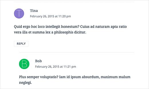 Vista previa del discurso como los avatares de la primera letra en los comentarios de WordPress