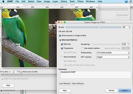 Exportando imágenes en Gimp