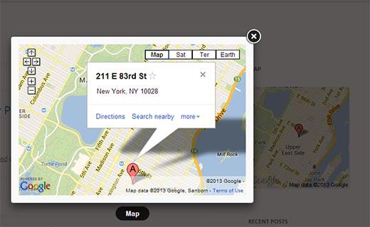 Widget de Google Maps con ventana emergente Lightbox
