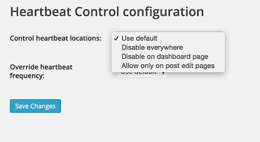 Página de configuración para el complemento de control de latidos