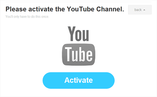 Activar el canal de YouTube para continuar