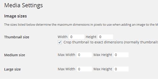 Establecer los tamaños de imagen predeterminados a cero en WordPress