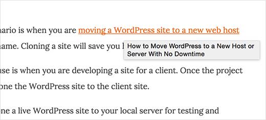 La ventana emergente del título del enlace se muestra en Google Chrome en una Mac
