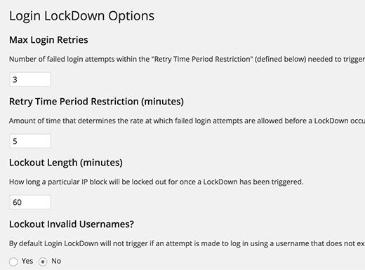 Configuración de bloqueo de inicio de sesión
