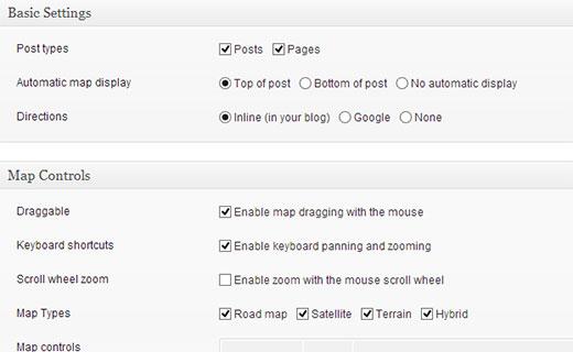 Página de configuración de MapPress