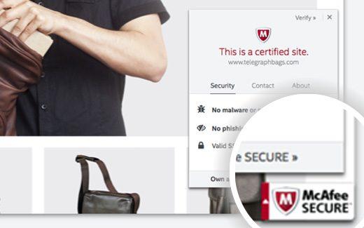 Sello de confianza SECURE de CAfee en un sitio de WordPress