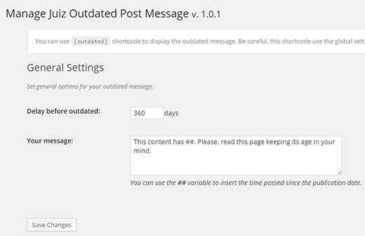Configuración de mensajes de publicación desactualizados