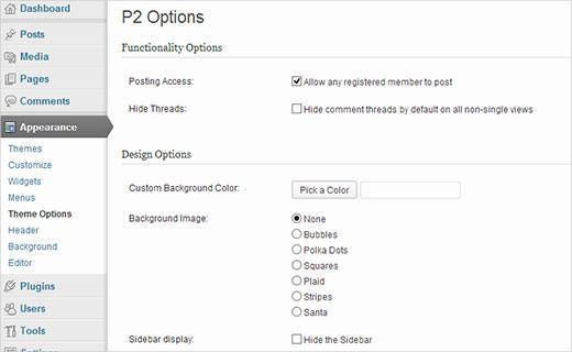 Configuración de las opciones del tema P2