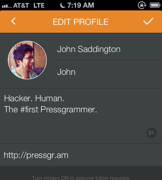 Editar su perfil de Pressgram