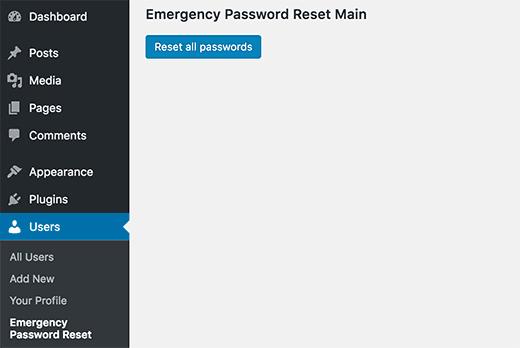 Restablecer todas las contraseñas en WordPress