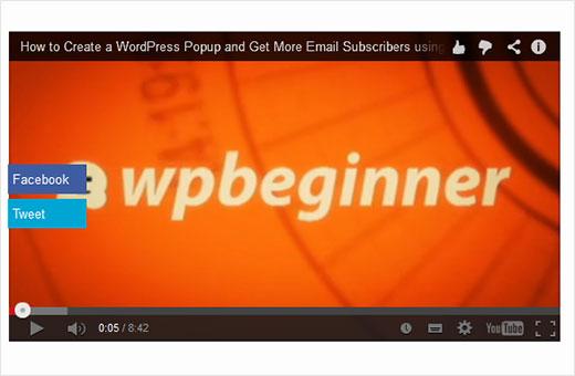 Cómo agregar botones para compartir como superposición en videos de YouTube en WordPress