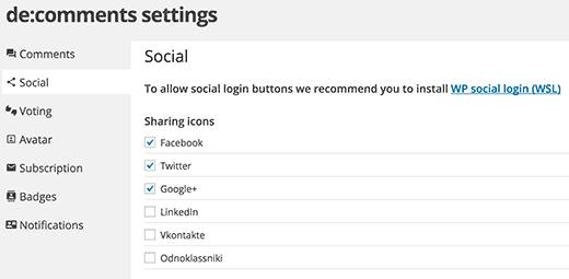 Habilitar funciones sociales para sus comentarios de WordPress