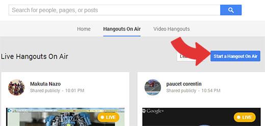 Iniciar un Hangout en vivo de Google+
