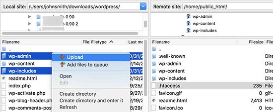 Sube archivos nuevos de WordPress