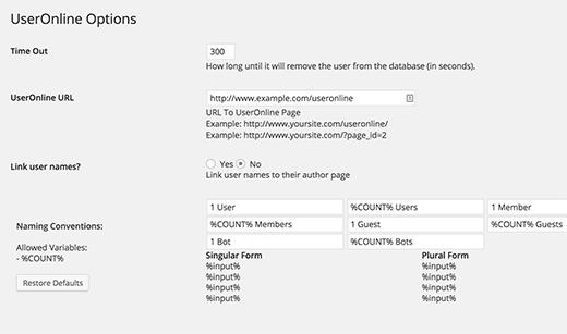 Configuración del complemento de usuarios en línea