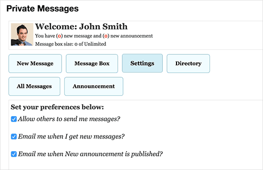 Configuración de usuario para mensajes privados en WordPress