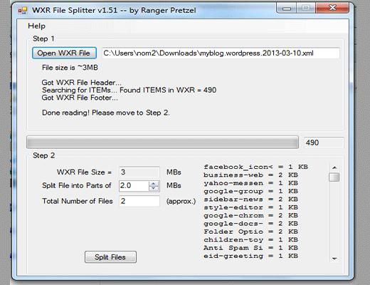 Utilidad WordPress XML Splitter
