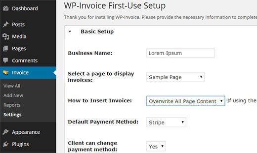 Configurar los ajustes de WP-Invoice