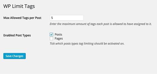 Configuración del complemento WP Limit Tags