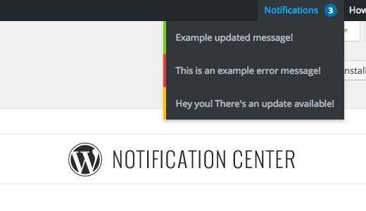 Centro de notificaciones de WordPress