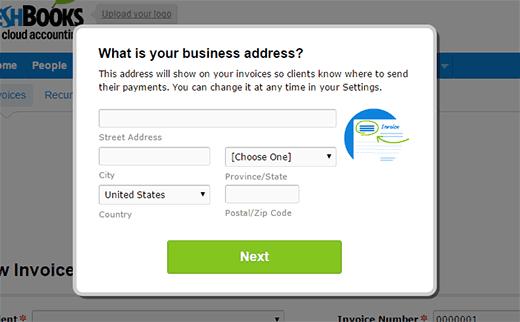 Su dirección comercial para la factura