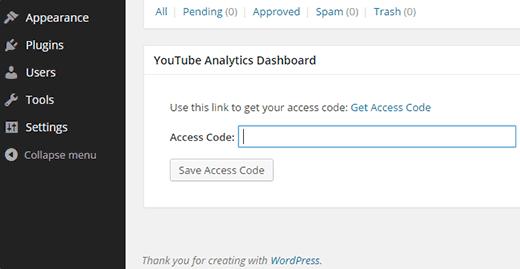 Widget del panel de análisis de YouTube